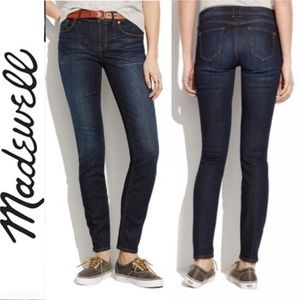 Madewell Midrise Dark Wash Skinny Jeans